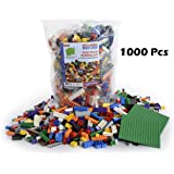"LP Toys 1000 Piece Building Blocks for Toddlers - Includes 54 Roof Pieces - 2 FREE 5"" x 5"" Base Plates Included, Brick Build Toy in 10 Different Colors and 12 Different Shapes Included"