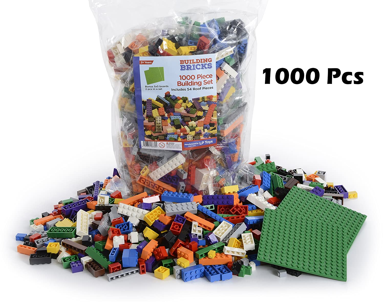 """LP Toys 1000 Piece Building Blocks for Toddlers - Includes 54 Roof Pieces - 2 FREE 5"""" x 5"""" Base Plates Included, Brick Build Toy in 10 Different Colors and 12 Different Shapes Included Review"""