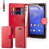 32nd Étui Portefeuille en Cuir PU Flip Coque pour Sony Xperia E4G, Housse avec fentes CB et Fermeture Magnétique - Rouge