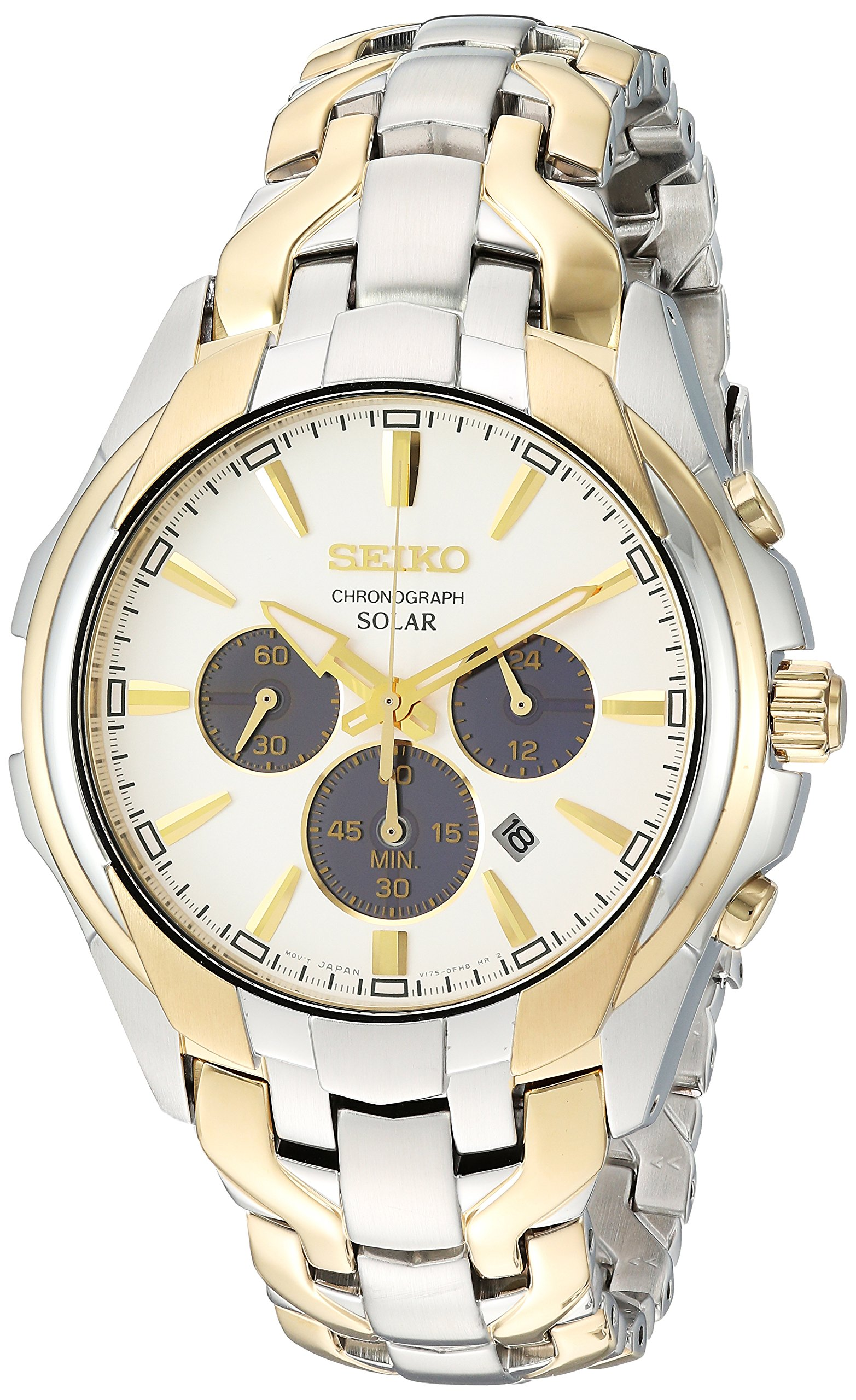 Seiko Men's 'SOLAR CHRONOGRAPH' Quartz Stainless Steel Casual Watch, Color:Two Tone (Model: SSC634)