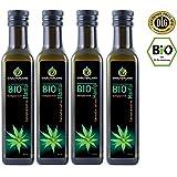 BIO Hanföl • BIO-zertifiziert • 1 Liter • 4 x 250 ml • kaltgepresst • 100% naturrein • rein nativ • Frischegarantie: mühlenfrisch direkt vom Hersteller Kräuterland Natur-Ölmühle • Premium Qualität