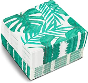 Green Palm Leaf Paper Napkins for Tropical Birthday Party (6.5 x 6.5 In, 150 Pack)