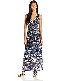 Angie Women s Blue Printed Maxi Dress 68817bf2f61f
