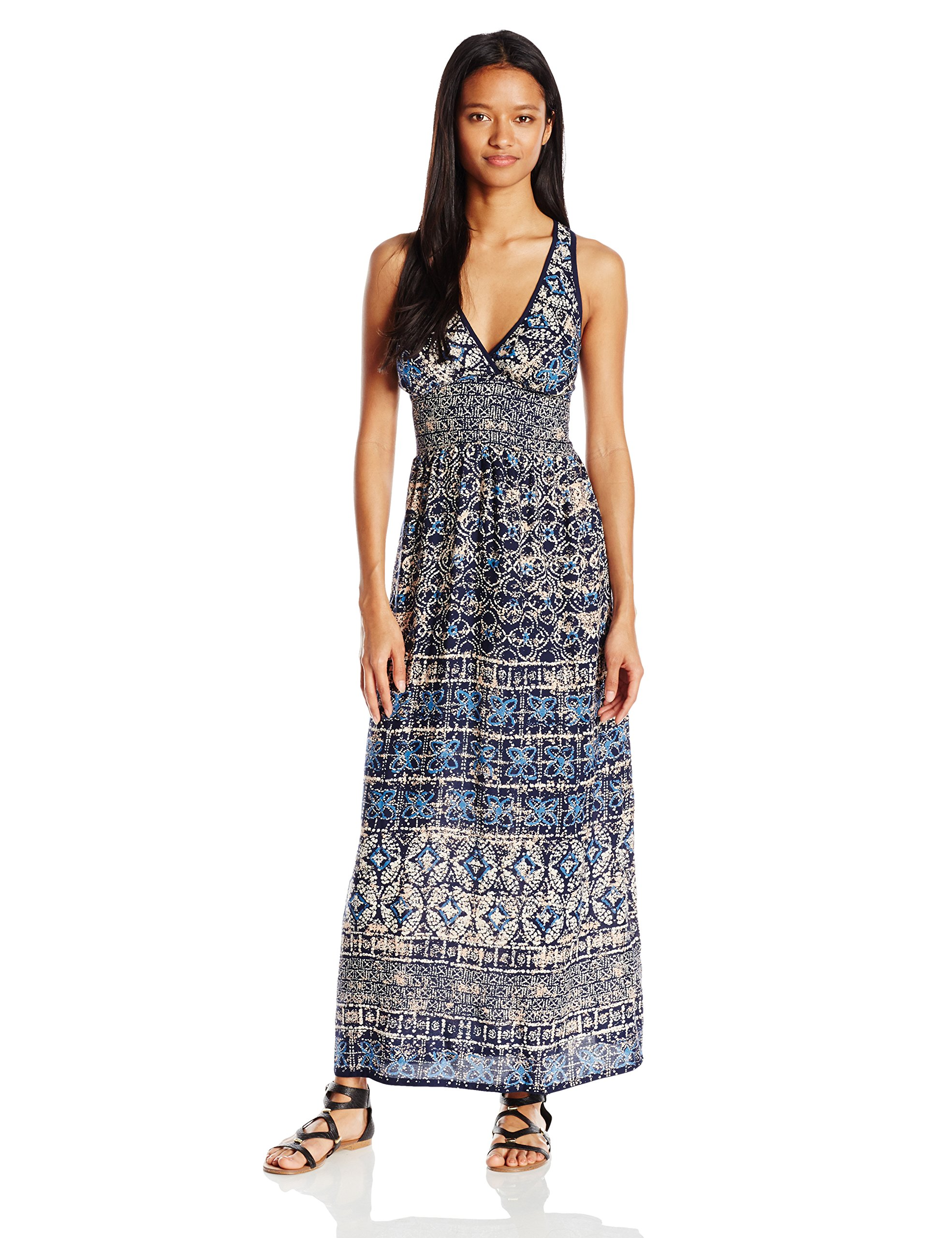 Angie Women's Printed Maxi Dress, Blue, Large