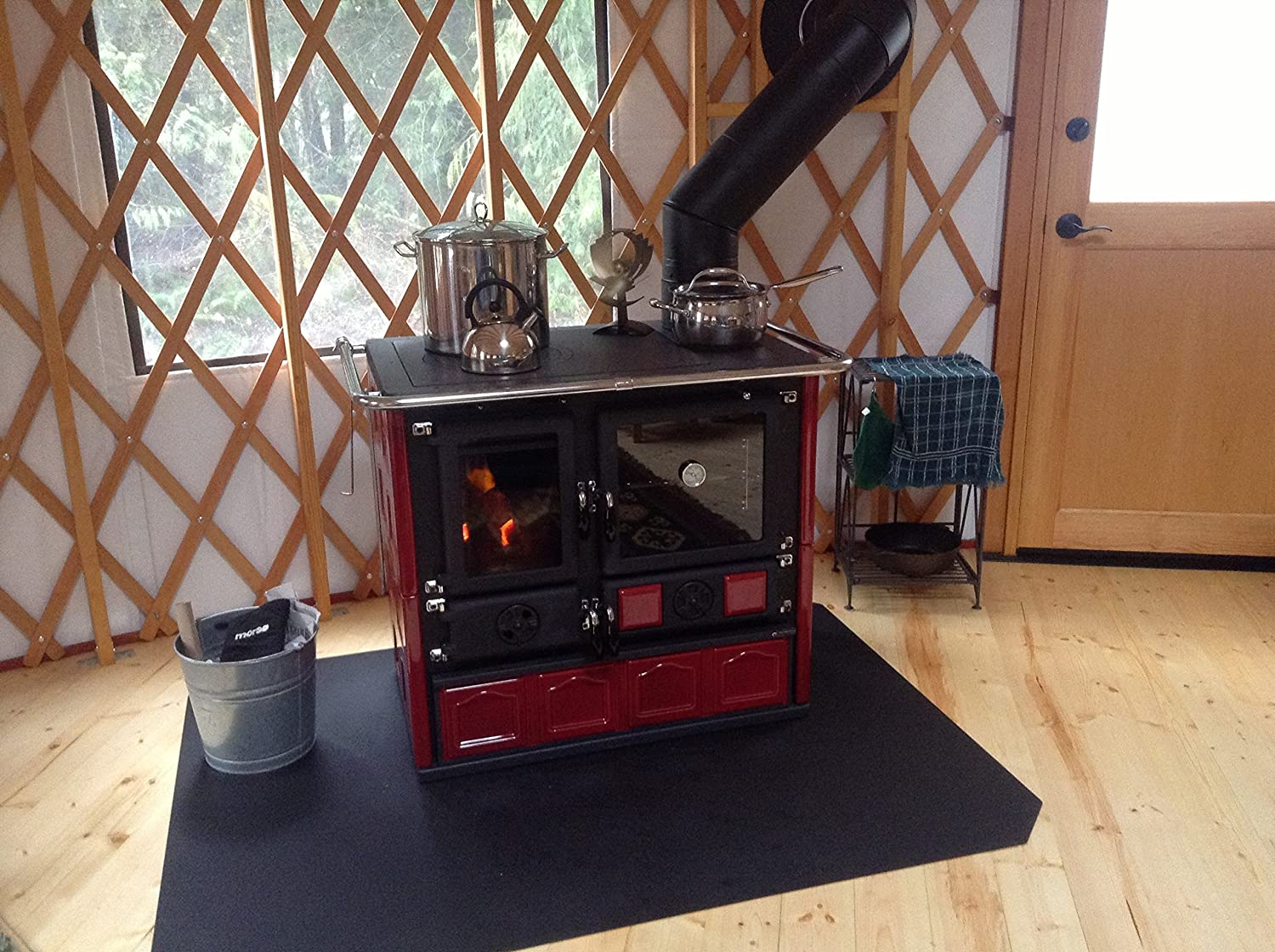 """Wood Burning Cook Stove La Nordica""""Rosa Maiolica Bordeaux"""" Made in Italy"""