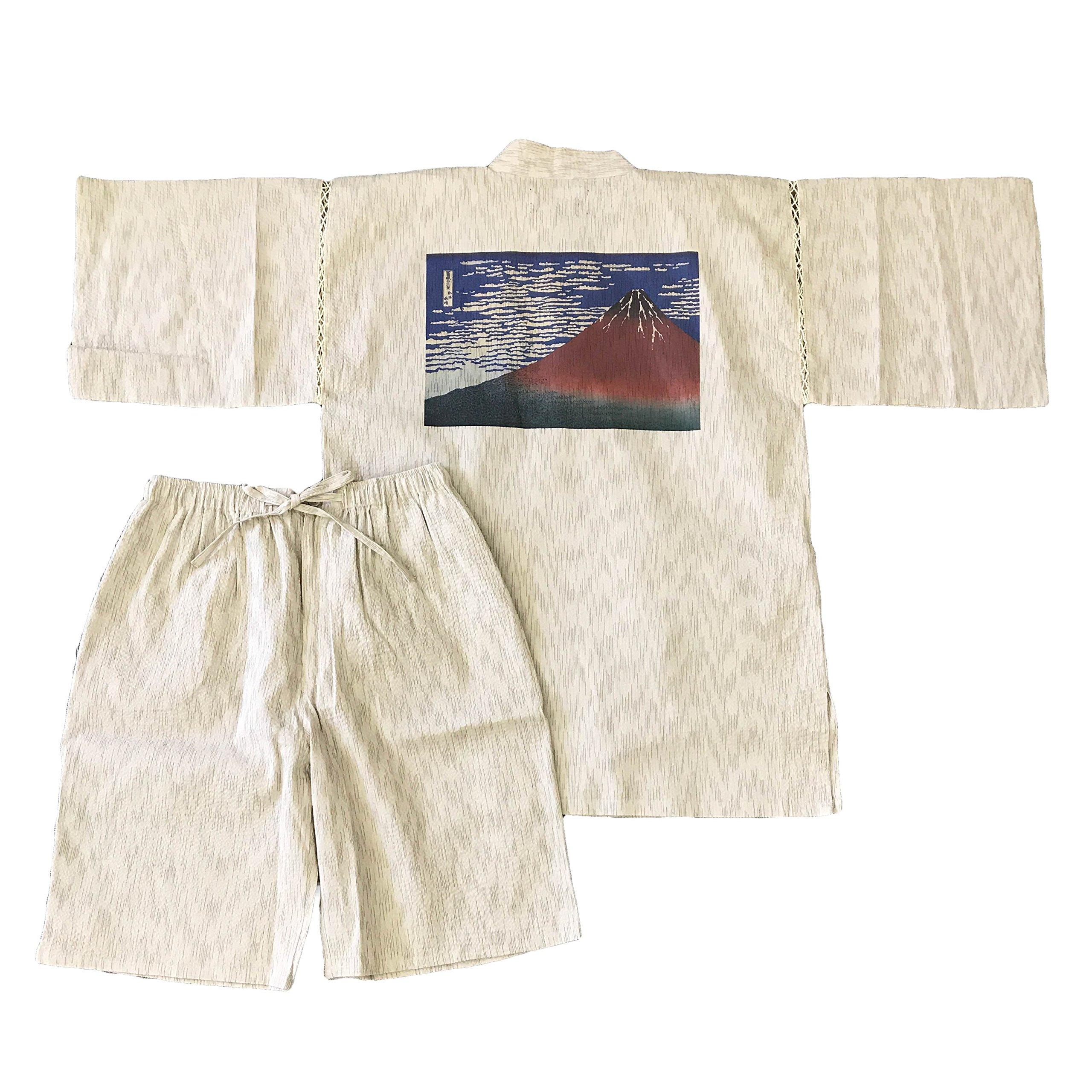 Edoten Men's Japan Kimono Jimbei Hokusai Red Mt.Fuji white XXL