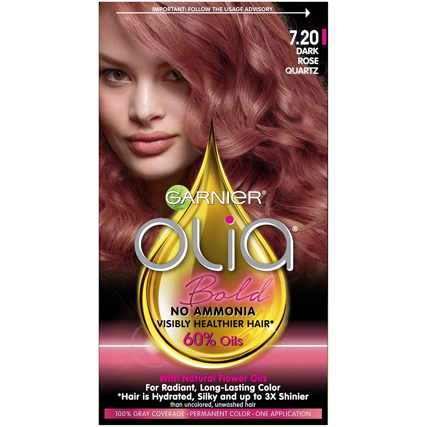 Garnier Olia Bold Ammonia Free Permanent Hair Color (Packaging May Vary), 7.20 Dark Rose Quartz, Rose Hair Dye