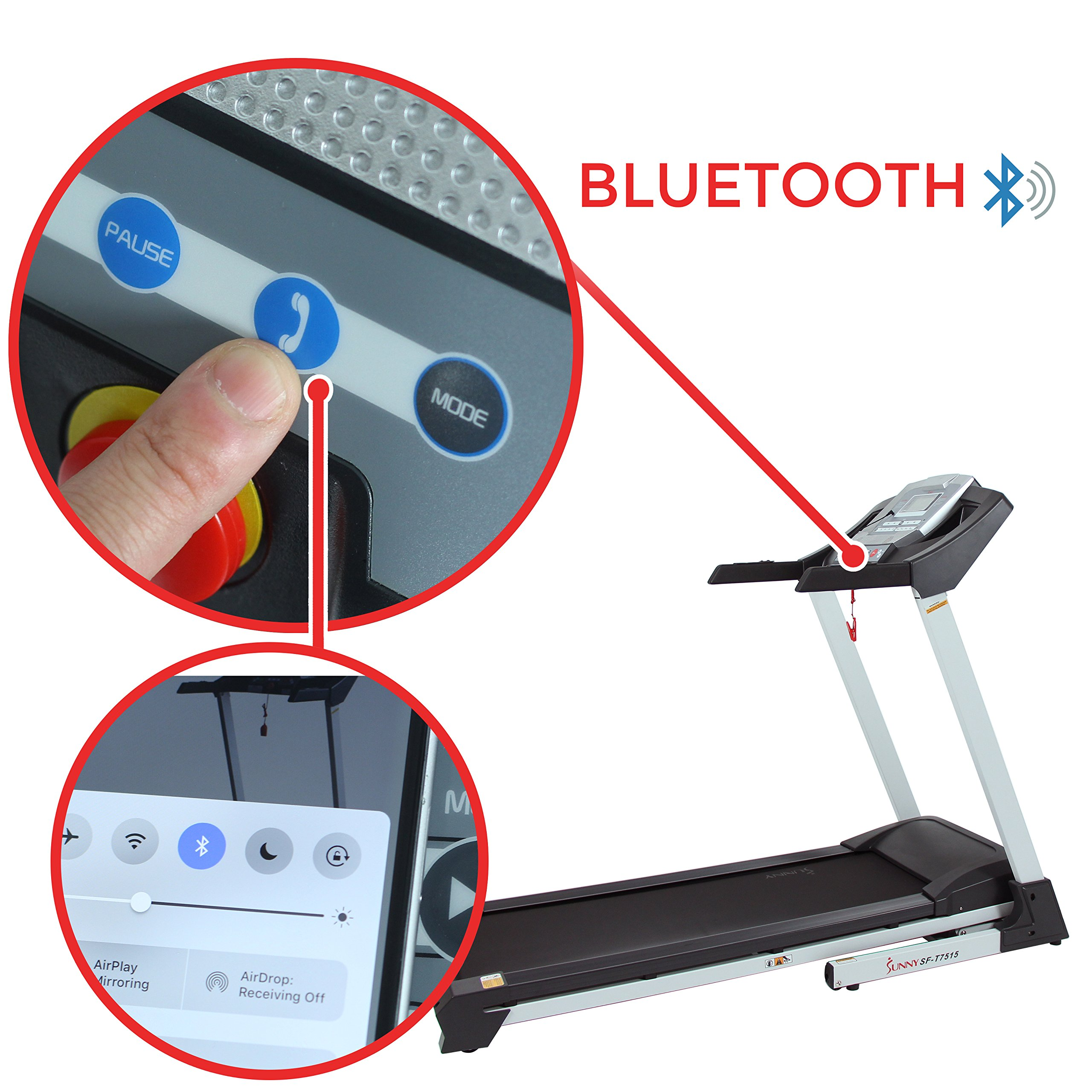 Sunny Health & Fitness SF-T7515 Smart Treadmill with Auto Incline, Bluetooth and BMI Calculator by Sunny Health & Fitness (Image #4)