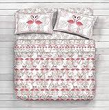 Completo lenzuola 100% cotone - disegno Aloha Fenicotteri (Beige, 1 Piazza e mezza)