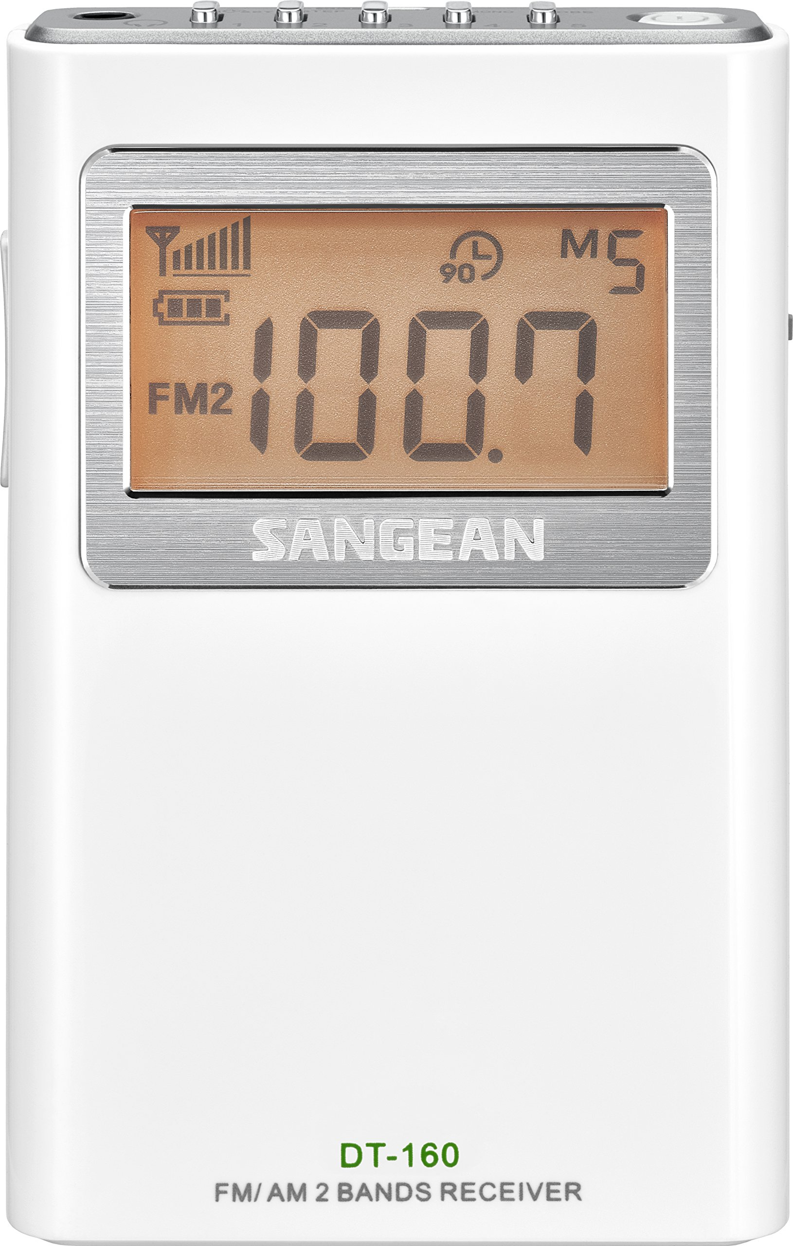 Sangean DT-160 AM/FM Stereo Pocket Radio with 100 Operating Hours on 2 AA Batteries, White