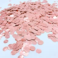 Glitter Rose-Gold Foil Metallic Round Table Confetti Circle Dots Mylar Table Scatter Confetti Wedding Bridal Shower Engagement Baby Shower Birthday Party Confetti Decorations, 50g