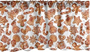 Ambesonne Christmas Window Valance, Gingerbread Man House Cones Xmas Cookie Celebration Theme, Curtain Valance for Kitchen Bedroom Decor with Rod Pocket, 54