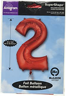 Anagram Foil Balloon 2827701 Number 2 34 Red