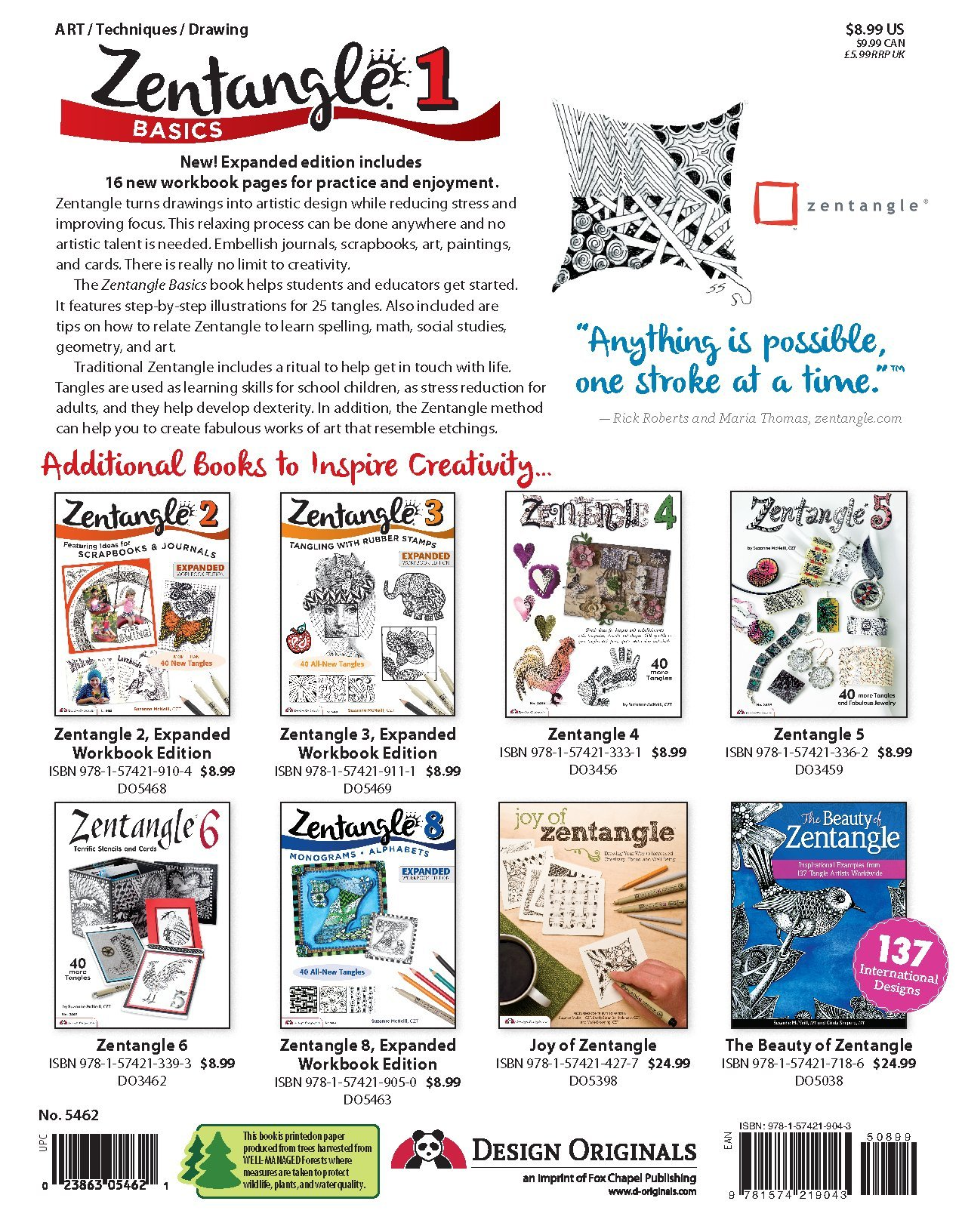 Zentangle Basics, Expanded Workbook Edition: A Creative Art Form Where All  You Need is Paper, Pencil, & Pen (Design Originals) 25 Original Tangles, ...