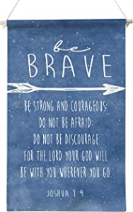 Inspirational Be Strong and Courageous Joshua 1:9 Bible Verse Art Poster Canvas Wall Art Decoration for Home Boys Room Nursery Decor,Bible Verse Quote Canvas Poster Hanger Scroll Hanging Poster Canvas Wall Art Gifts,12 x 20 Inch