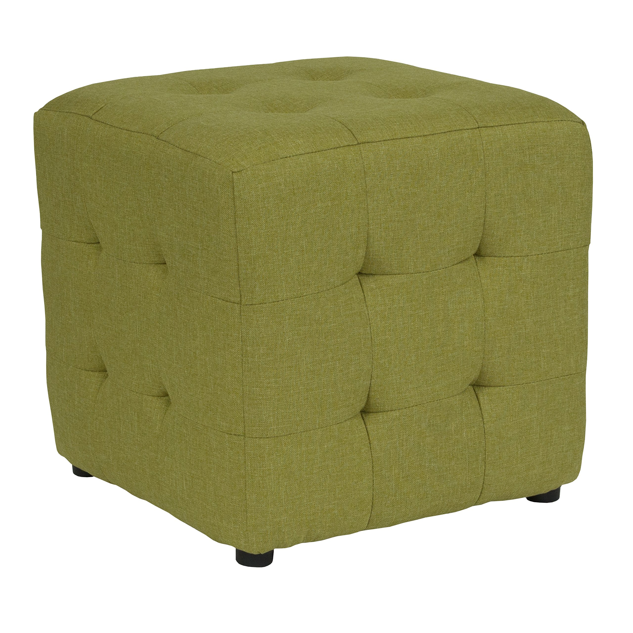 Flash Furniture Avendale Tufted Upholstered Ottoman Pouf in Green Fabric