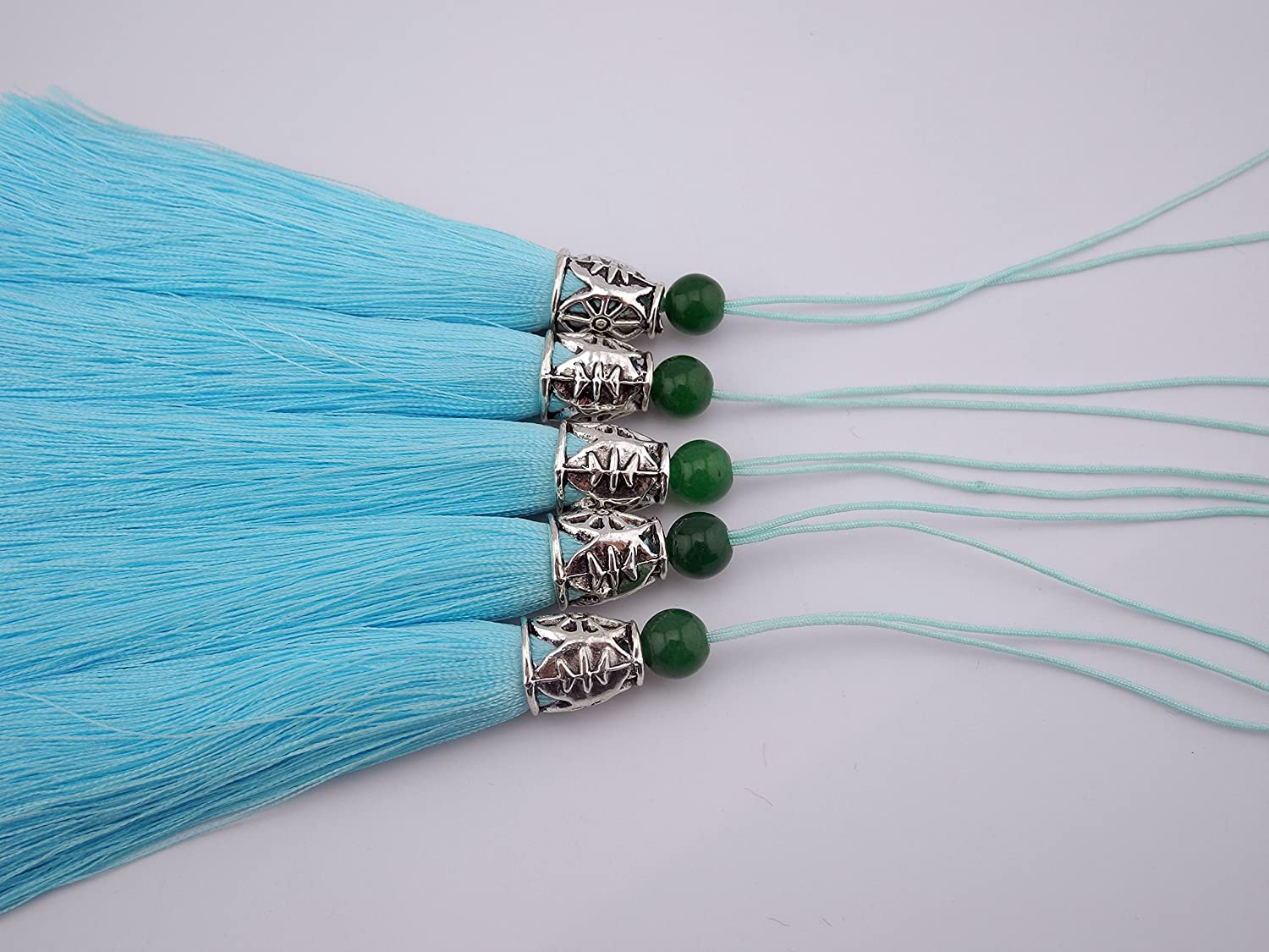 10pcs 3.6''(9.0cm) Soft Silk Tassels for Jewelry with Hollowed Antique Silver Cap and Jade Beads (Royal Blue) Sansam