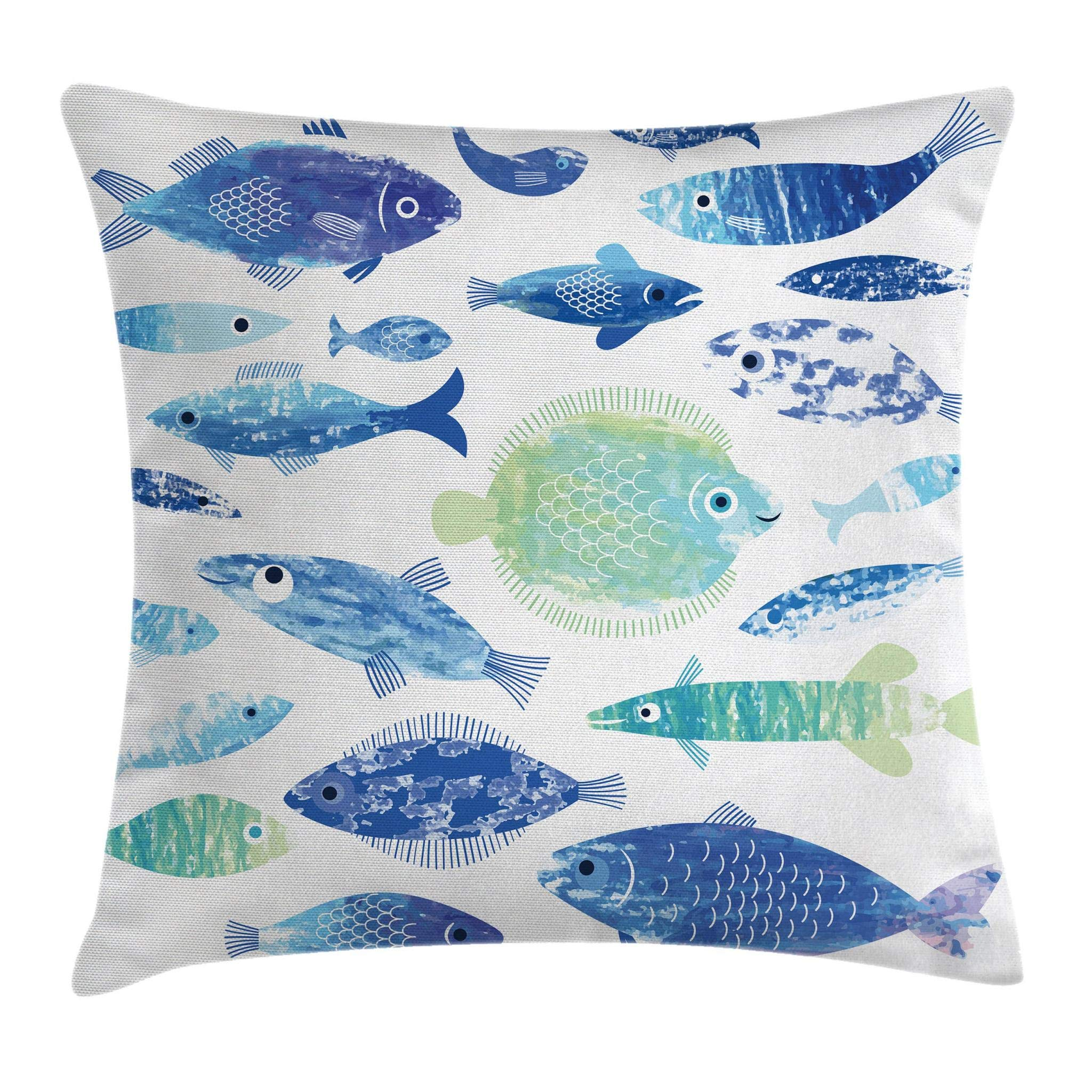 Ambesonne Ocean Animal Decor Throw Pillow Cushion Cover, Artisan Fish Patterns with Wave Lines and Sky Cloud Motifs Marine Life Image, Decorative Square Accent Pillow Case, 18 X 18 Inches, Blue