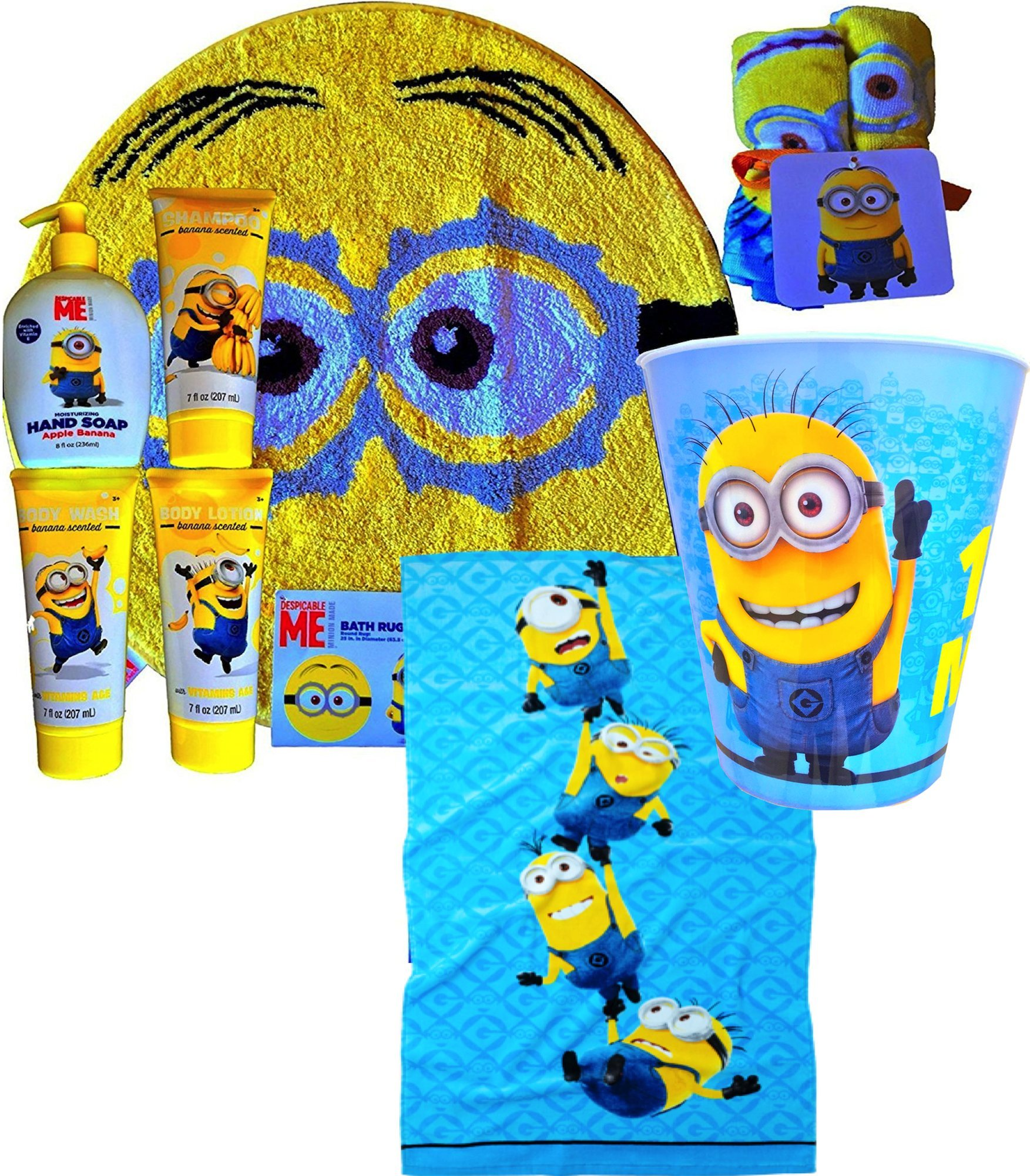 Despicable me minions themed ultimate children's bathroom accessory gift set inlcudes bath rug , 6pack washcloth, large hand towel, wastebasket and bananna scented 4 pack, shampoo , hand soap , body wash, body lotion great quality gift set