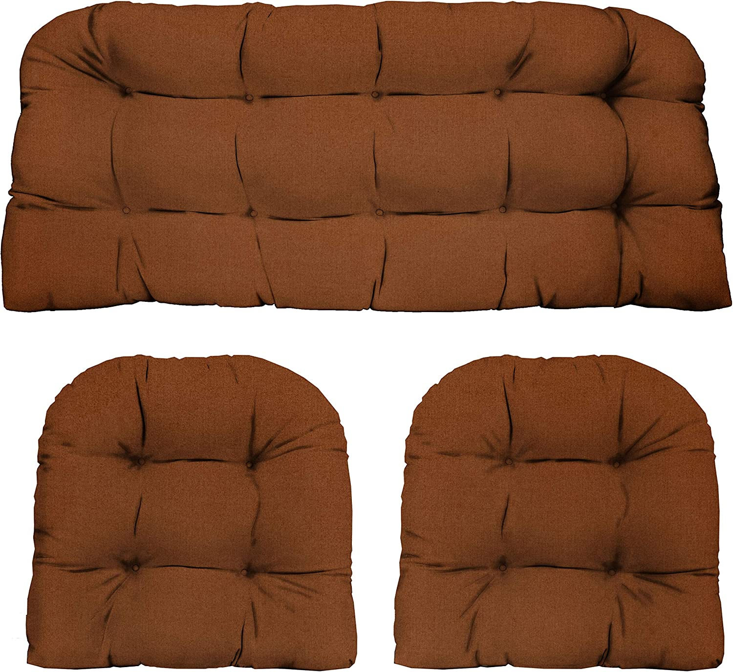 "RSH Décor Indoor Outdoor 3 Piece Tufted Wicker Settee Cushions 1 Loveseat & 2 U-Shape Weather Resistant ~ Choose Color (Cinnamon Canvas Poly, 2- 19""x19"" 1- 41""x19"")"