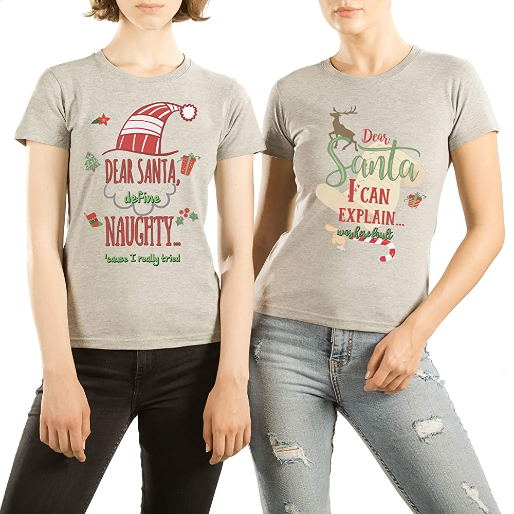 VivaMake® Pack 2 Camisetas de Navidad para Mujer Originales para Mejores Amigas con Diseño Naughty Friends: Amazon.es: Ropa y accesorios
