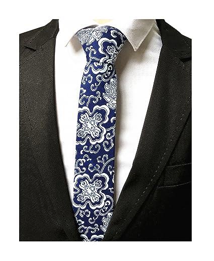 5d1af99e78 Men s White Blue Linen Cotton Tie China Culture Suit Boys Nerrow Dress  Neckties
