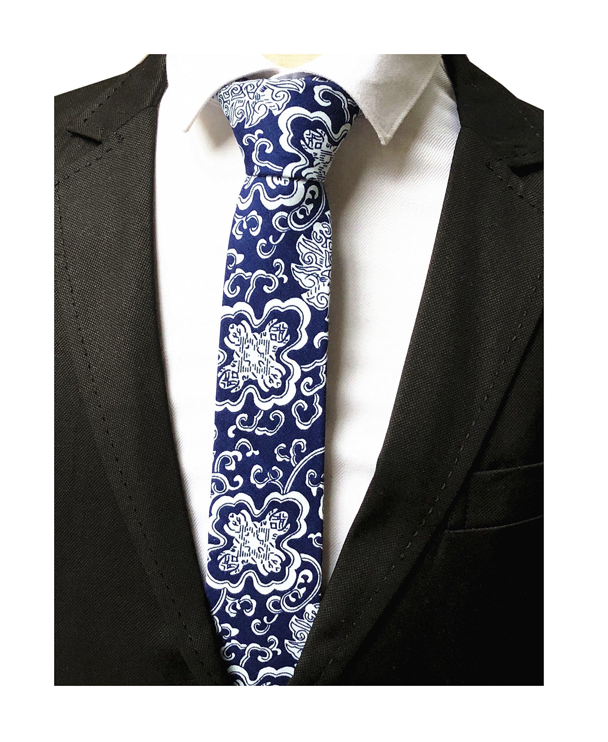 Men's White Blue Linen Cotton Tie China Culture Suit Boys Nerrow Dress Neckties