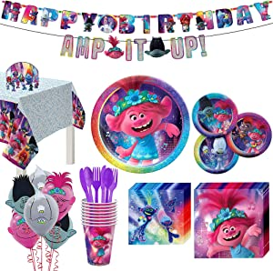 Party City Trolls World Tour 67 Piece Birthday Party Supplies for 8 Guests, Poppy Branch Plates, Napkins, Cups, Utensils, Decorations and Balloons