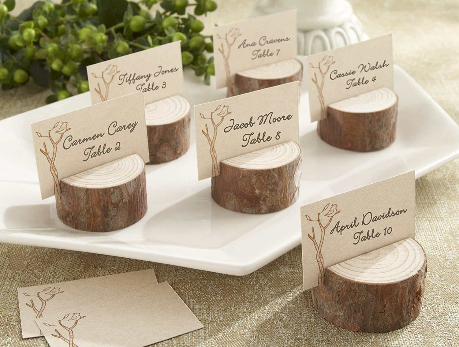 Amazon.com: Kate Aspen 4 Count Wood Place Card/Photo Holder ...