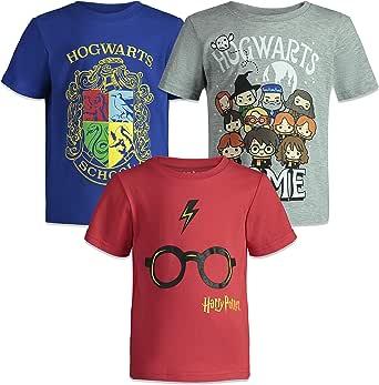 HARRY POTTER Camisetas de Manga Corta Hogwarts para Niño Grande - Pack de 3 - Azul, Gris y Roja 13-14 Años: Amazon.es: Ropa y accesorios