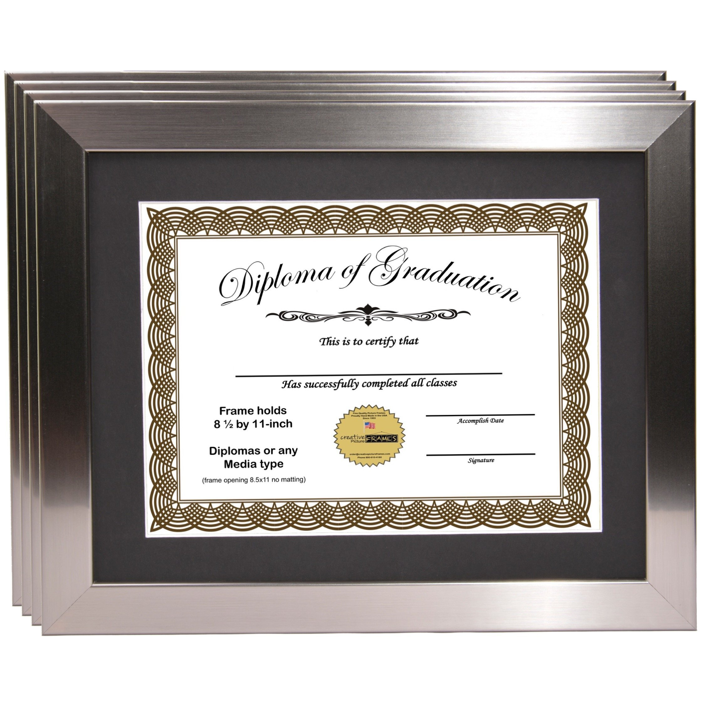 CreativePF [11x14ss] Stainless Steel Finish Diploma Frame with 11x14-inch White Mat to Hold 8.5 by 11-inch Graduation Documents w/ Stand and Wall Hanger (Black Mat-Stainless Steel Frame, 4) by Creative Picture Frames