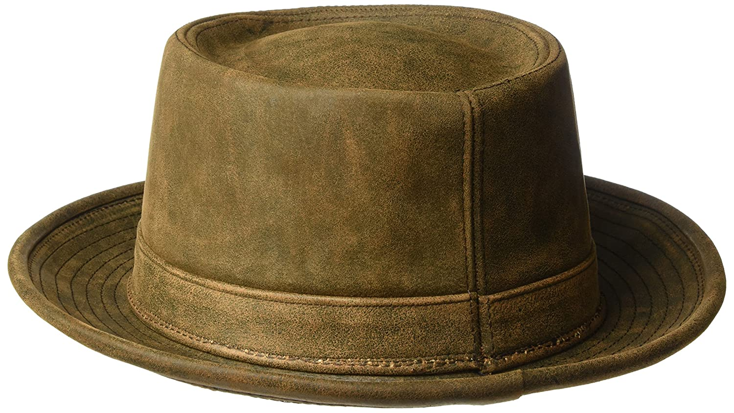 50ed774a1 Henschel Men's Smooth Garment Leather Porkpie Hat with Satin Lining ...