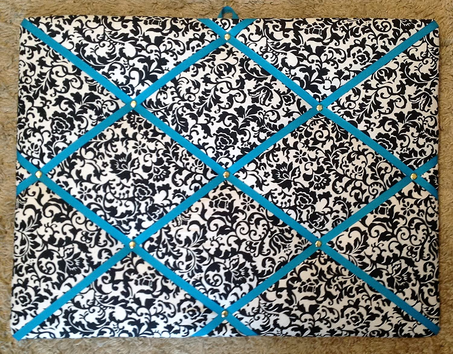 Damask Scroll Turquoise Ribbon French/memo Board Toycatz Creations