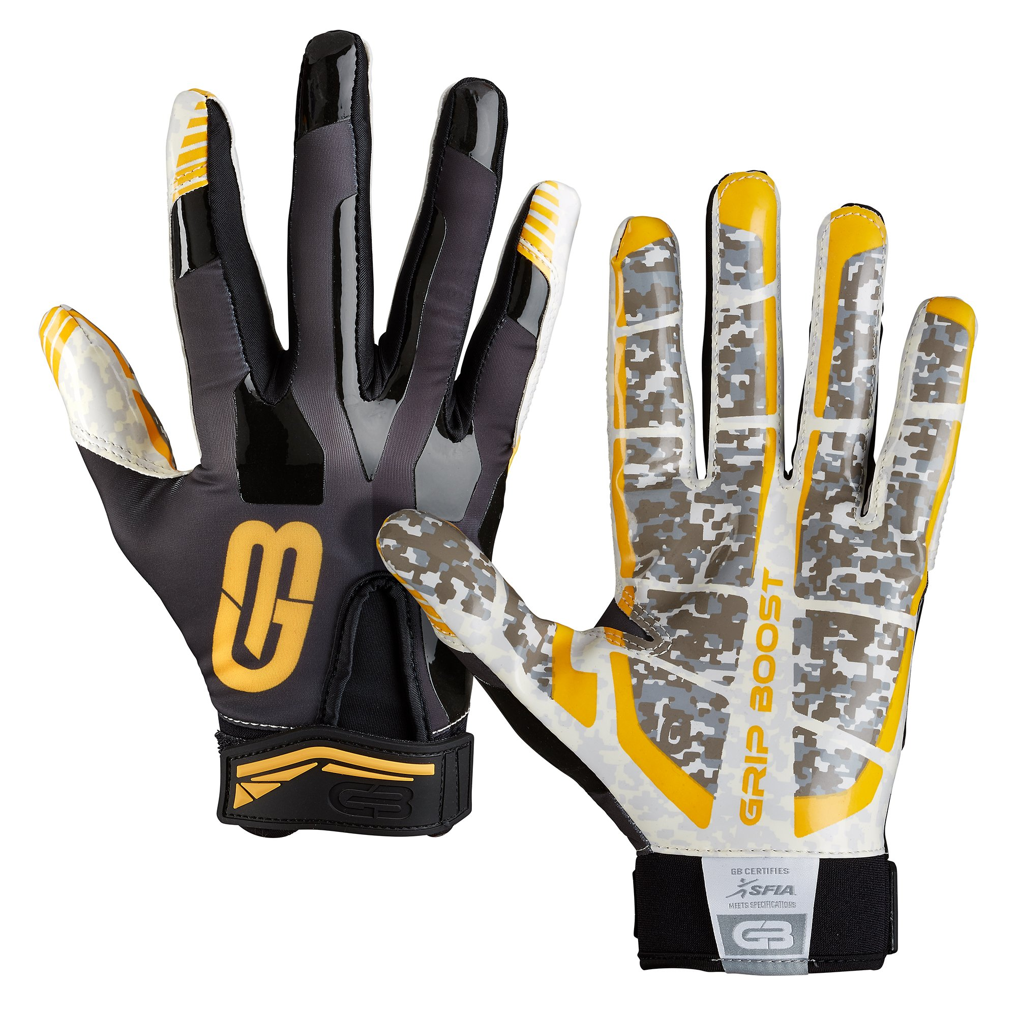 Grip Boost Stealth Super Sticky Football Gloves Pro Elite, Youth & Adult Men Sizes (Black/Gold, Youth Small)