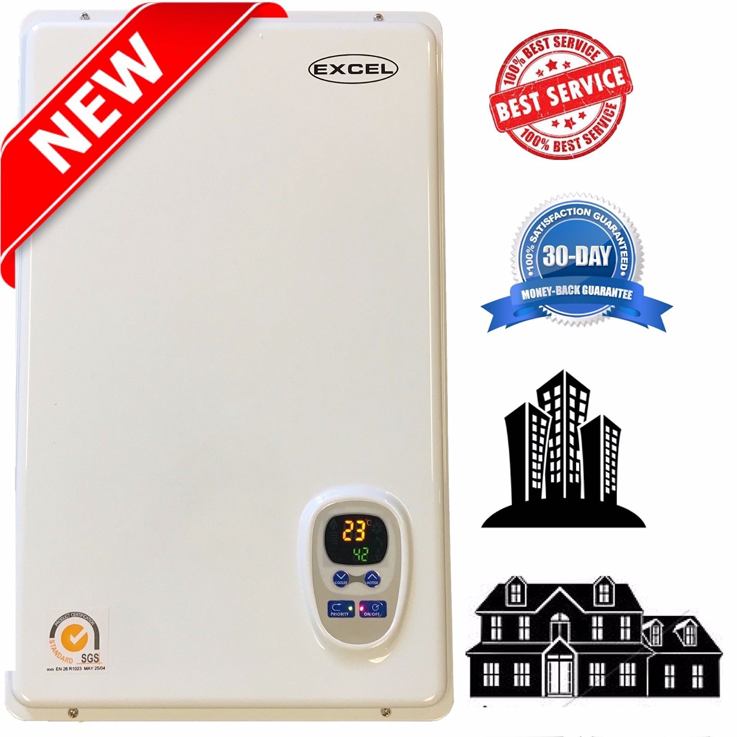 Tankless Gas Water Heater Excel Pro NATURAL GAS 6.6 GPM Whole House and for Hydronic heating Compare to Rinnai, Rheem ,Noritz, Bosch FREE FLUE KIT by gasFlex