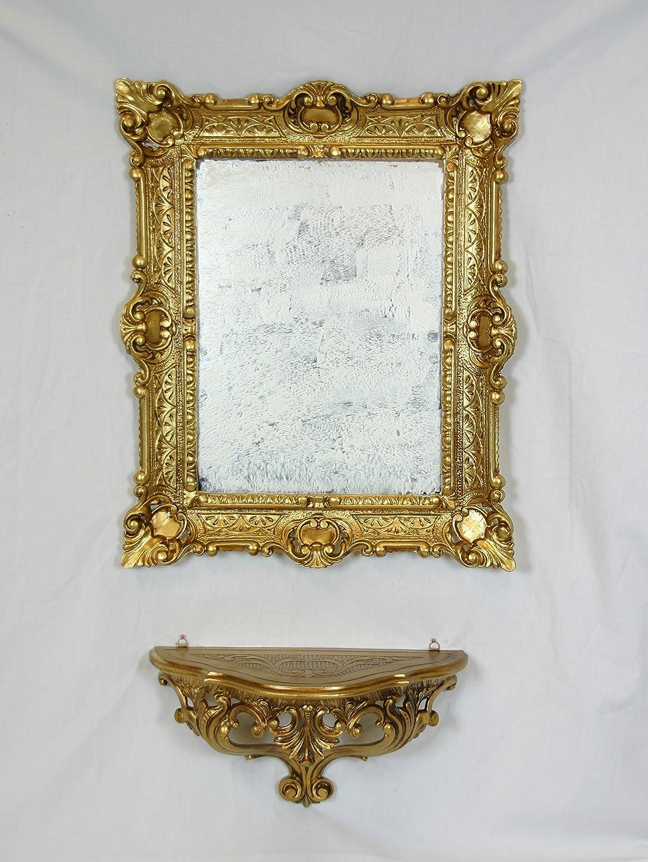 Ideacasa Spielekonsole Konsole + Spiegel Gold vergoldet Wandschrank Fake Vintage Stil Louis XVI Barock