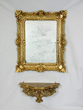 console tagre miroir or dor meuble mural imitation vintage style louis xvi baroque