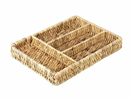 De mimbre Natural bandeja de cajón para cubiertos, 4 compartimentos