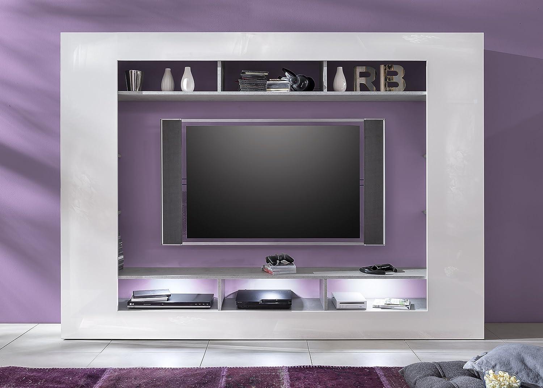 Trendteam SD Wohnwand TV Möbel | Weiß Hochglanz | Beton Industry | 216 X  160 Cm: Amazon.de: Küche U0026 Haushalt