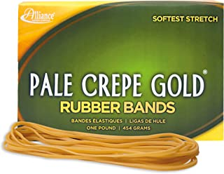 """product image for Alliance Rubber 20255 Pale Crepe Gold Rubber Bands Size #117A, 1 lb Box Contains Approx. 600 Bands (7"""" x 1/16"""", Golden Crepe)"""