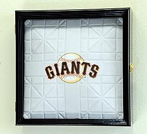 Full Size Baseball Base Plate Display Case Cabinet Shadowbox Holder 98% UV (Black Finish)