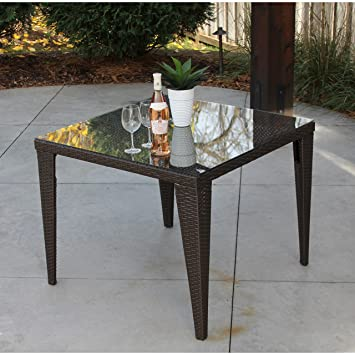 amazon com palmer henley brown wicker and glass square table