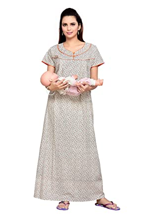 e7d860ef593e0 Soulemo Women's Cotton Feeding Nighty (304c, Cream, Large): Amazon ...