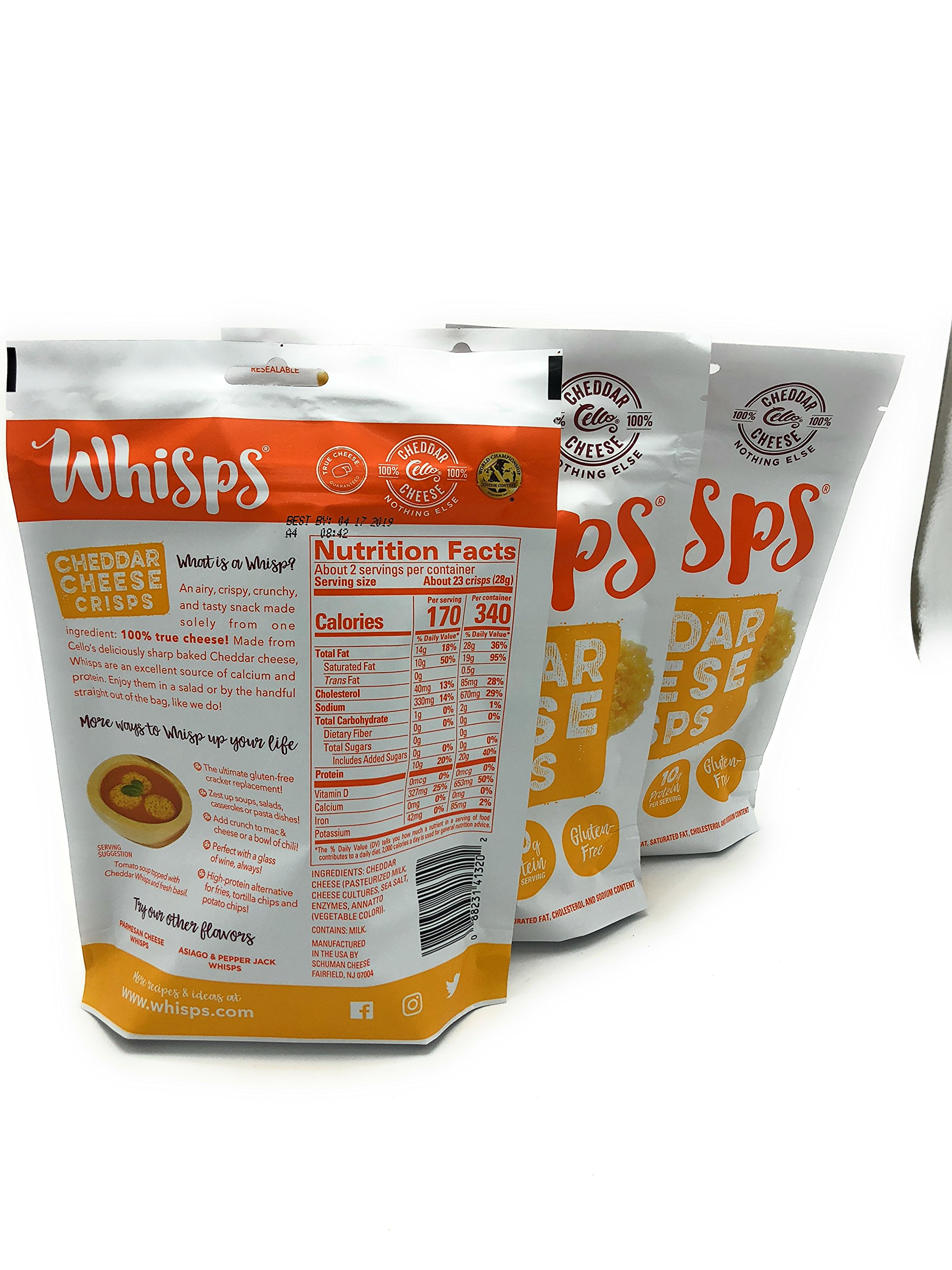 Whisps Cheddar Cheese Crisps 2.12 oz (3 Pack) by Cello (Image #2)