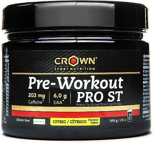 Crown Sport Nutrition Pre Entreno - Preworkout con Óxido Nítrico Taurina Tirosina Betaina Acetil L-Carnitina Cafeína Yerba Mate pre-entreno ...