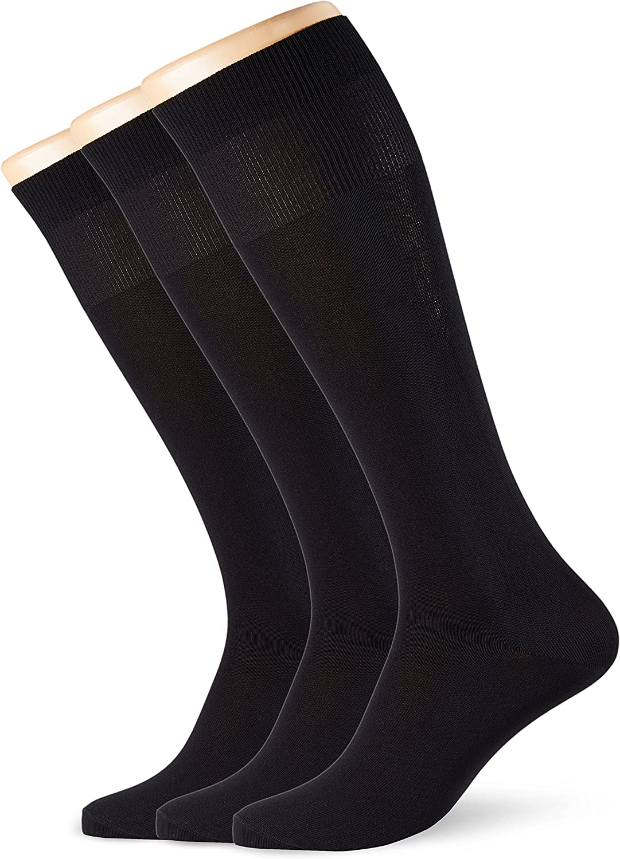 POMPEA Microfibra Calcetines altos Pack de 3 para Hombre