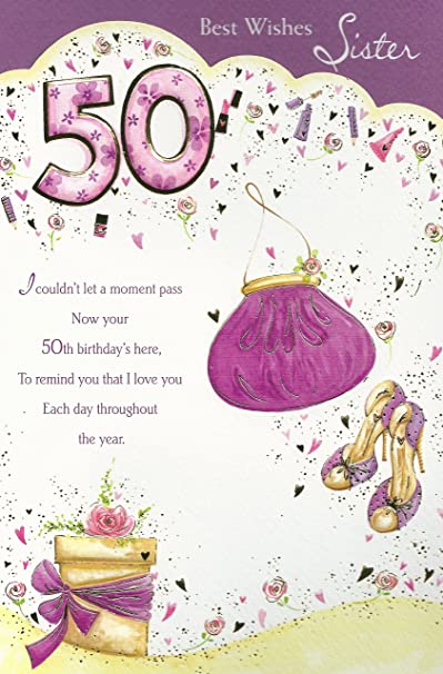 Best Wishes Sister 50th Happy Birthday Card Amazon Co Uk Kitchen