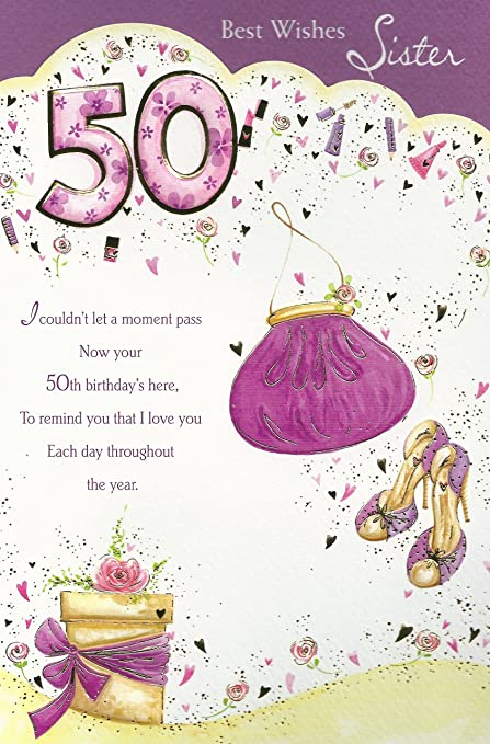 Best Wishes Sister 50th Happy Birthday Card Amazon Kitchen