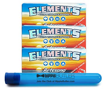 Merveilleux Elements Artesano King Size Slim Rolling Papers (3 Packs) With XL Hippie  Butler Doob