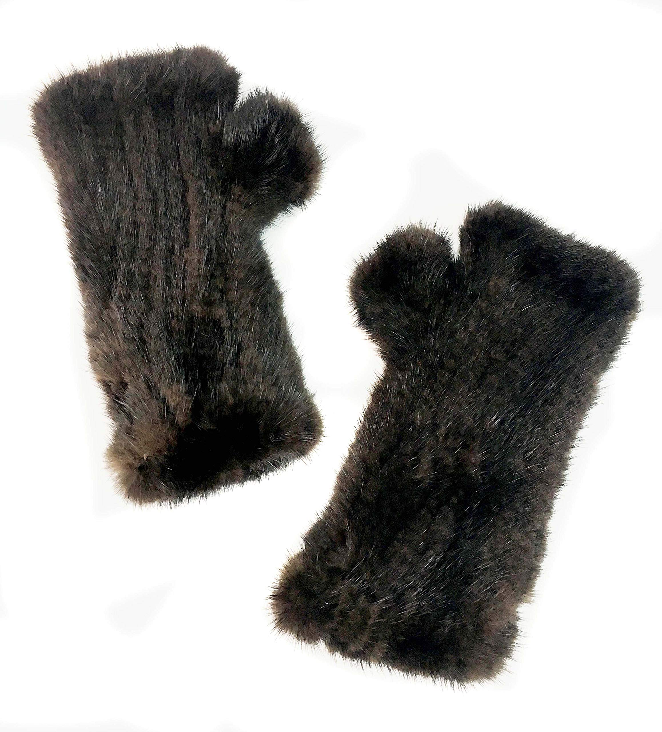 Surell Brown Mink Fur Textile Knit Fingerless Gloves - Winter Texting Mittens - Luxury Cold Weather Clothing